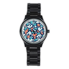 Blue Tossed Flower Floral Stainless Steel Round Watch by Mariart