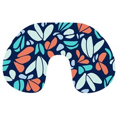 Blue Tossed Flower Floral Travel Neck Pillows by Mariart