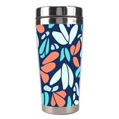 Blue Tossed Flower Floral Stainless Steel Travel Tumblers by Mariart