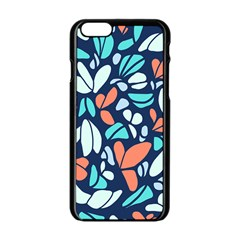 Blue Tossed Flower Floral Apple Iphone 6/6s Black Enamel Case