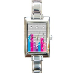Building Polka City Rainbow Rectangle Italian Charm Watch by Mariart