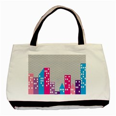 Building Polka City Rainbow Basic Tote Bag by Mariart