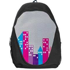 Building Polka City Rainbow Backpack Bag by Mariart