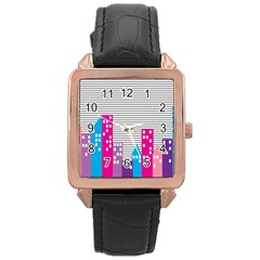 Building Polka City Rainbow Rose Gold Leather Watch  by Mariart
