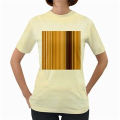 Brown Verticals Lines Stripes Colorful Women s Yellow T Shirt