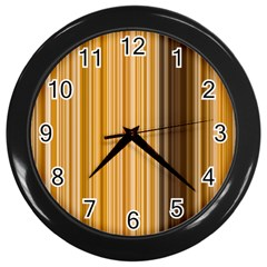 Brown Verticals Lines Stripes Colorful Wall Clocks (black) by Mariart