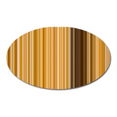 Brown Verticals Lines Stripes Colorful Oval Magnet by Mariart