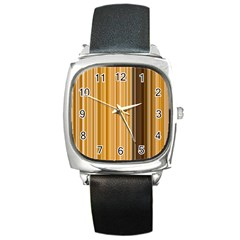 Brown Verticals Lines Stripes Colorful Square Metal Watch by Mariart