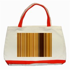 Brown Verticals Lines Stripes Colorful Classic Tote Bag (red) by Mariart