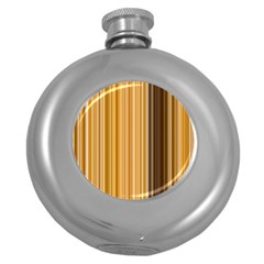 Brown Verticals Lines Stripes Colorful Round Hip Flask (5 Oz)
