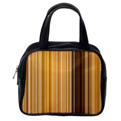Brown Verticals Lines Stripes Colorful Classic Handbags (one Side) by Mariart