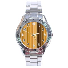 Brown Verticals Lines Stripes Colorful Stainless Steel Analogue Watch by Mariart