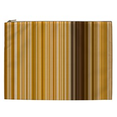 Brown Verticals Lines Stripes Colorful Cosmetic Bag (xxl)  by Mariart
