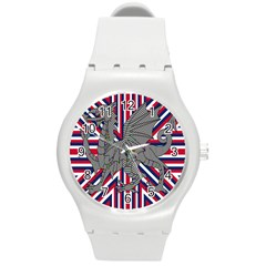 Alternatively Mega British America Dragon Illustration Round Plastic Sport Watch (m) by Mariart
