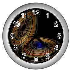 Wondrous Trajectorie Illustrated Line Light Black Wall Clocks (silver)