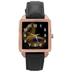 Wondrous Trajectorie Illustrated Line Light Black Rose Gold Leather Watch  by Mariart