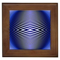 Blue Lines Iterative Art Wave Chevron Framed Tiles by Mariart