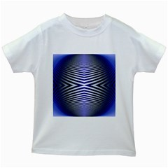 Blue Lines Iterative Art Wave Chevron Kids White T Shirts by Mariart