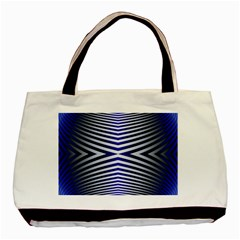 Blue Lines Iterative Art Wave Chevron Basic Tote Bag (two Sides) by Mariart