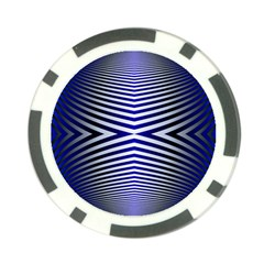 Blue Lines Iterative Art Wave Chevron Poker Chip Card Guard