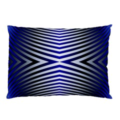 Blue Lines Iterative Art Wave Chevron Pillow Case by Mariart