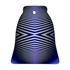 Blue Lines Iterative Art Wave Chevron Ornament (bell)