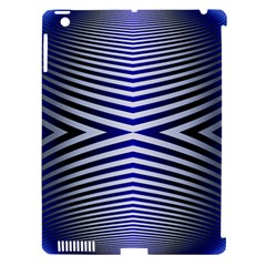 Blue Lines Iterative Art Wave Chevron Apple Ipad 3/4 Hardshell Case (compatible With Smart Cover)