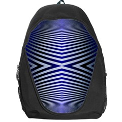 Blue Lines Iterative Art Wave Chevron Backpack Bag by Mariart