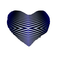 Blue Lines Iterative Art Wave Chevron Standard 16  Premium Heart Shape Cushions by Mariart