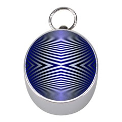 Blue Lines Iterative Art Wave Chevron Mini Silver Compasses by Mariart