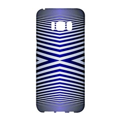 Blue Lines Iterative Art Wave Chevron Samsung Galaxy S8 Hardshell Case  by Mariart