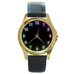 Colorful Light Ray Border Animation Loop Rainbow Motion Background Space Round Gold Metal Watch