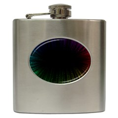 Colorful Light Ray Border Animation Loop Rainbow Motion Background Space Hip Flask (6 Oz) by Mariart