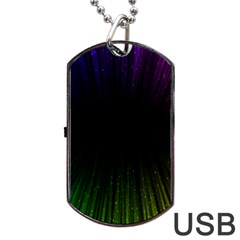 Colorful Light Ray Border Animation Loop Rainbow Motion Background Space Dog Tag Usb Flash (one Side) by Mariart