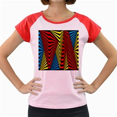 Door Pattern Line Abstract Illustration Waves Wave Chevron Red Blue Yellow Black Women s Cap Sleeve T Shirt by Mariart
