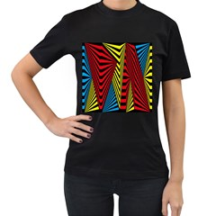 Door Pattern Line Abstract Illustration Waves Wave Chevron Red Blue Yellow Black Women s T Shirt (black) (two Sided) by Mariart