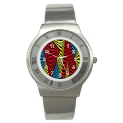 Door Pattern Line Abstract Illustration Waves Wave Chevron Red Blue Yellow Black Stainless Steel Watch by Mariart