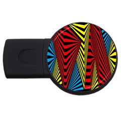 Door Pattern Line Abstract Illustration Waves Wave Chevron Red Blue Yellow Black Usb Flash Drive Round (4 Gb)