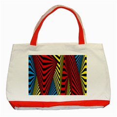 Door Pattern Line Abstract Illustration Waves Wave Chevron Red Blue Yellow Black Classic Tote Bag (red) by Mariart