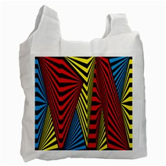 Door Pattern Line Abstract Illustration Waves Wave Chevron Red Blue Yellow Black Recycle Bag (one Side) by Mariart