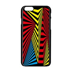 Door Pattern Line Abstract Illustration Waves Wave Chevron Red Blue Yellow Black Apple Iphone 6/6s Black Enamel Case by Mariart