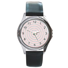 Double Line Spiral Spines Red Black Circle Round Metal Watch by Mariart