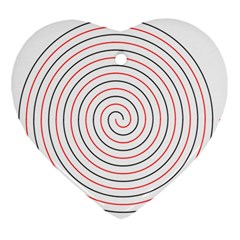 Double Line Spiral Spines Red Black Circle Ornament (heart) by Mariart