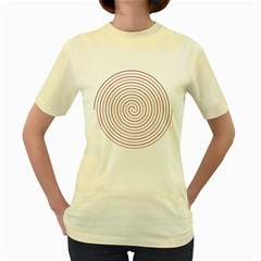 Double Line Spiral Spines Red Black Circle Women s Yellow T Shirt by Mariart