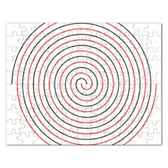 Double Line Spiral Spines Red Black Circle Rectangular Jigsaw Puzzl by Mariart