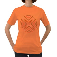 Double Line Spiral Spines Red Black Circle Women s Dark T Shirt by Mariart