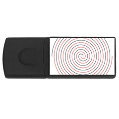 Double Line Spiral Spines Red Black Circle Rectangular Usb Flash Drive by Mariart