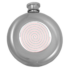 Double Line Spiral Spines Red Black Circle Round Hip Flask (5 Oz) by Mariart