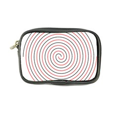 Double Line Spiral Spines Red Black Circle Coin Purse by Mariart