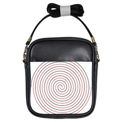 Double Line Spiral Spines Red Black Circle Girls Sling Bags by Mariart